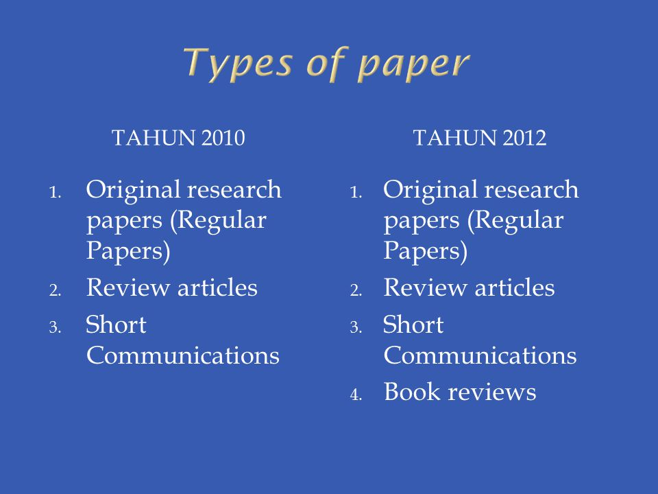 Types of paper Original research papers (Regular Papers)