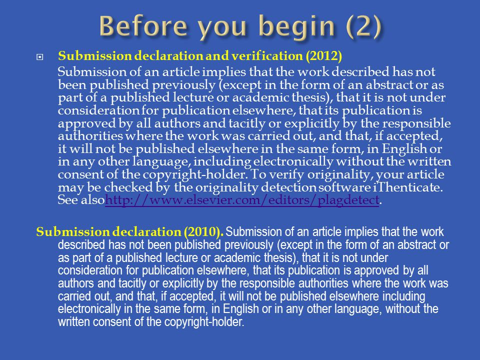 Before you begin (2) Submission declaration and verification (2012)