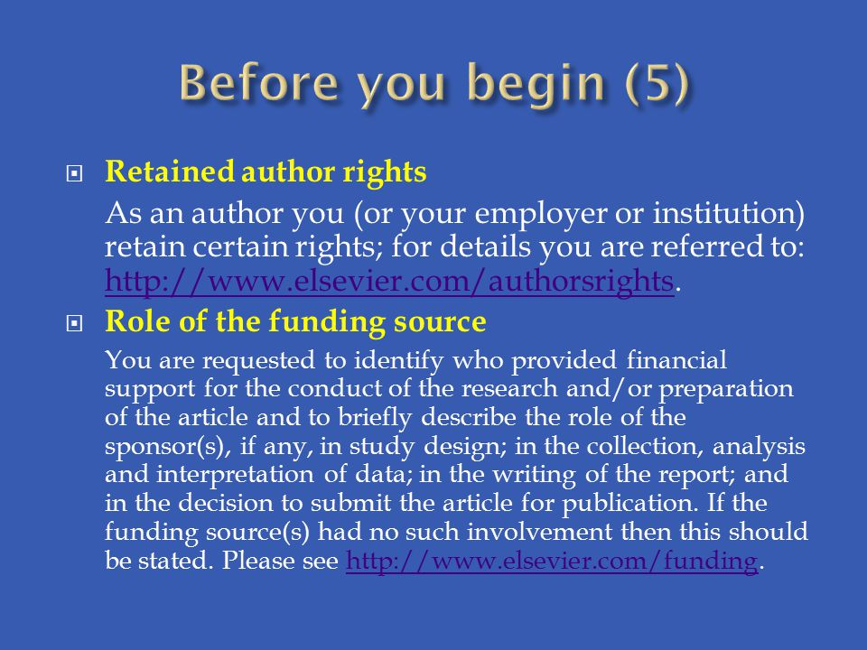 Before you begin (5) Retained author rights