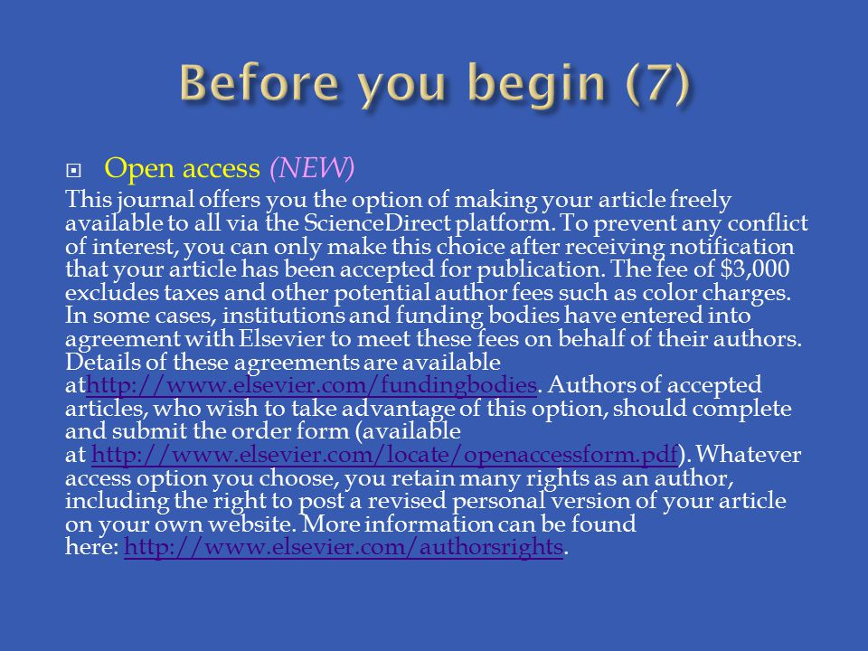 Before you begin (7) Open access (NEW)