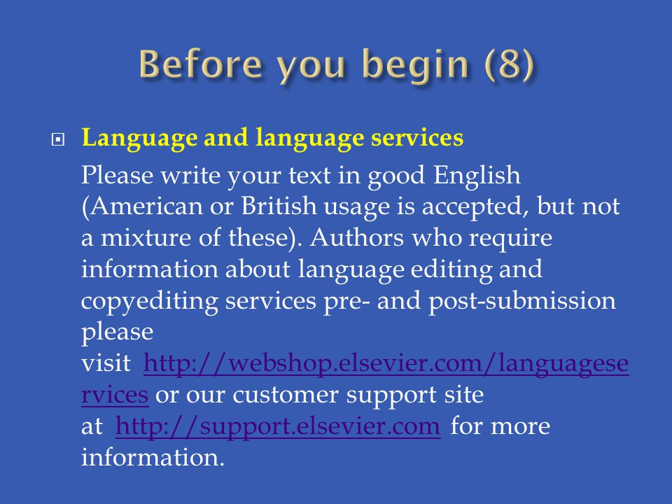 Before you begin (8) Language and language services