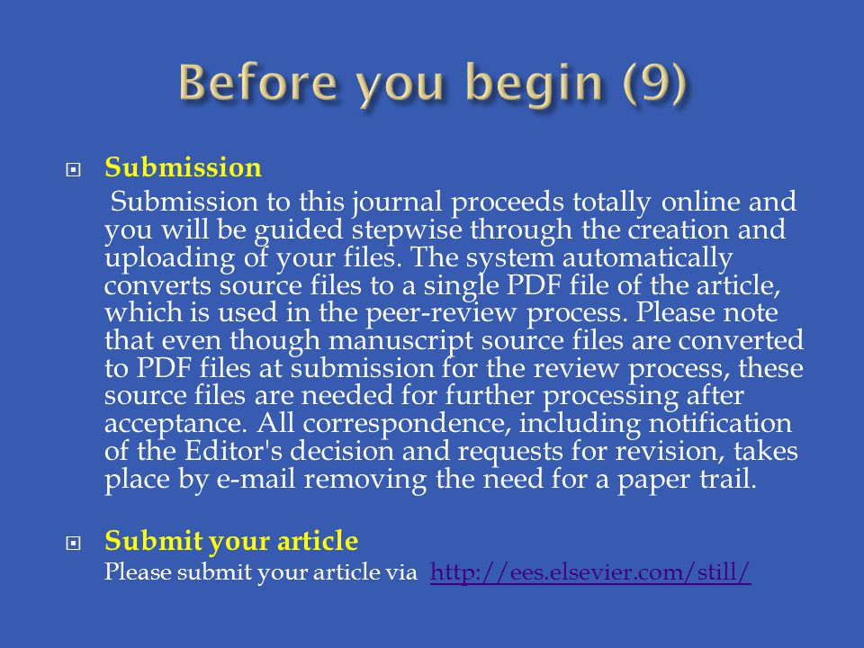 Before you begin (9) Submission