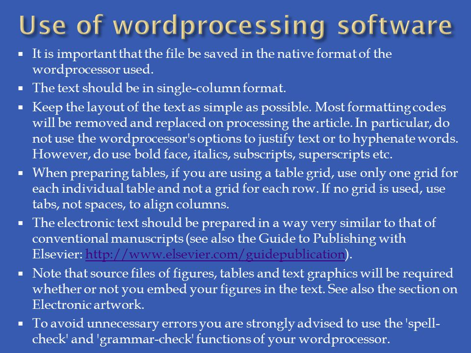 Use of wordprocessing software