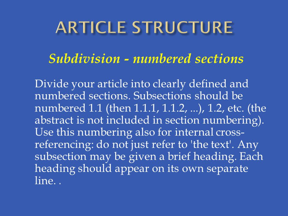 Subdivision - numbered sections