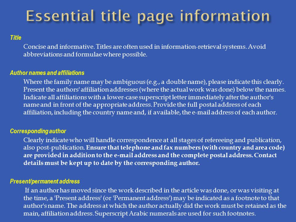 Essential title page information