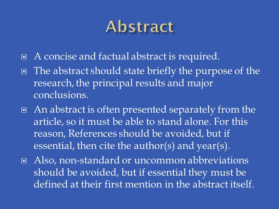 Abstract A concise and factual abstract is required.