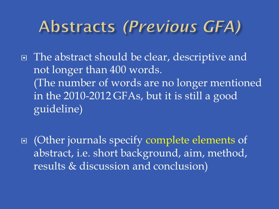 Abstracts (Previous GFA)