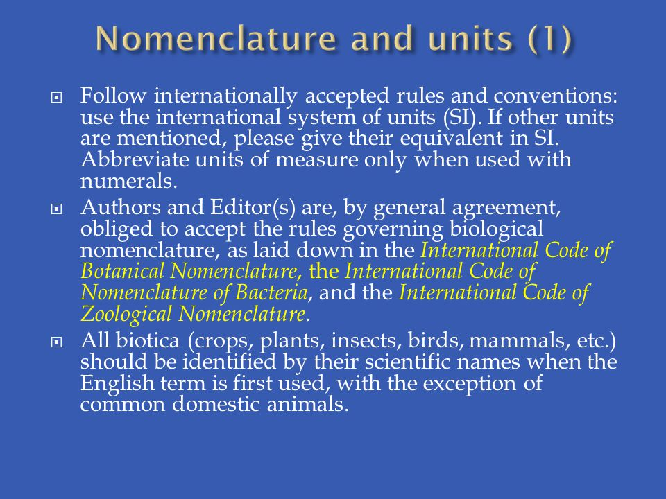 Nomenclature and units (1)