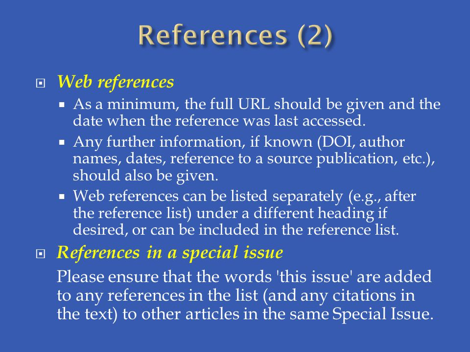 References (2) Web references References in a special issue