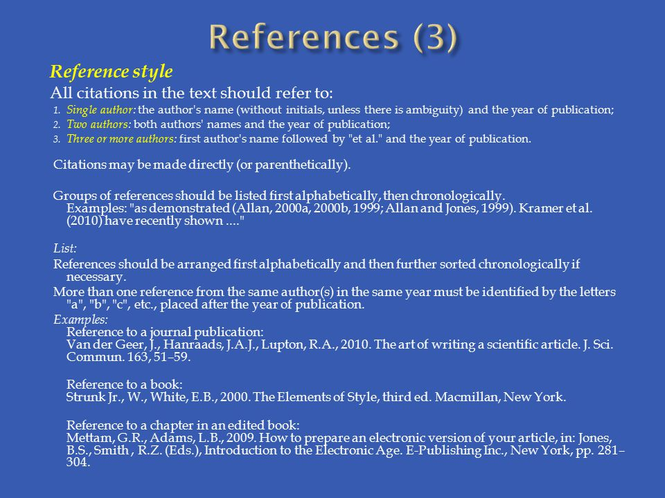 References (3) Reference style