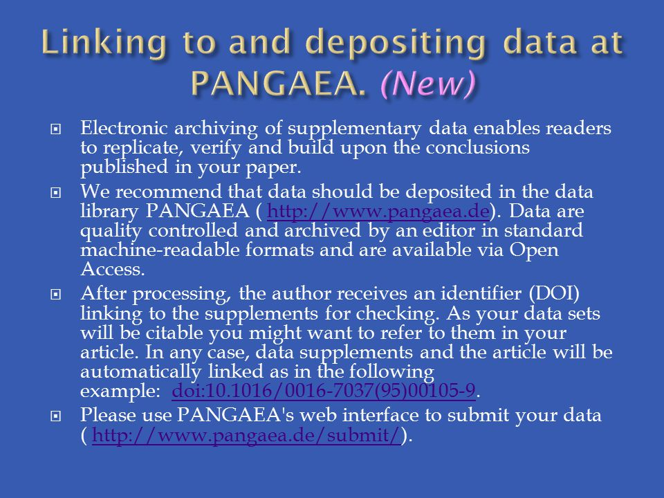 Linking to and depositing data at PANGAEA. (New)