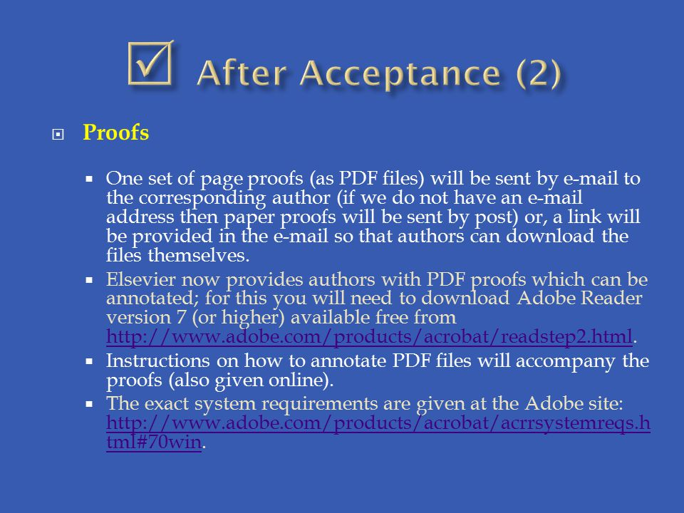  After Acceptance (2) Proofs
