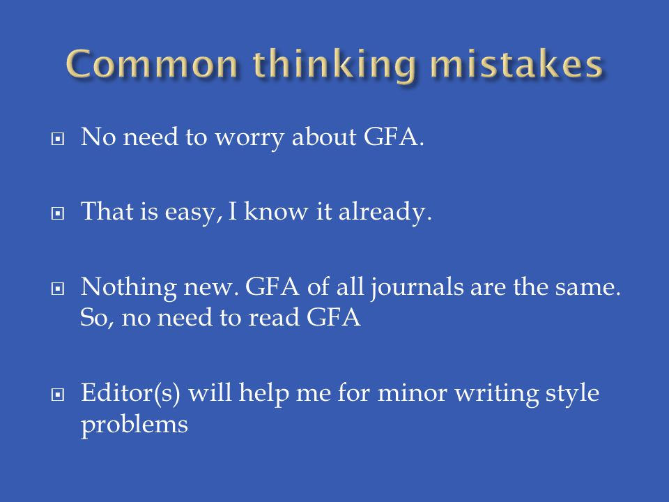 Common thinking mistakes