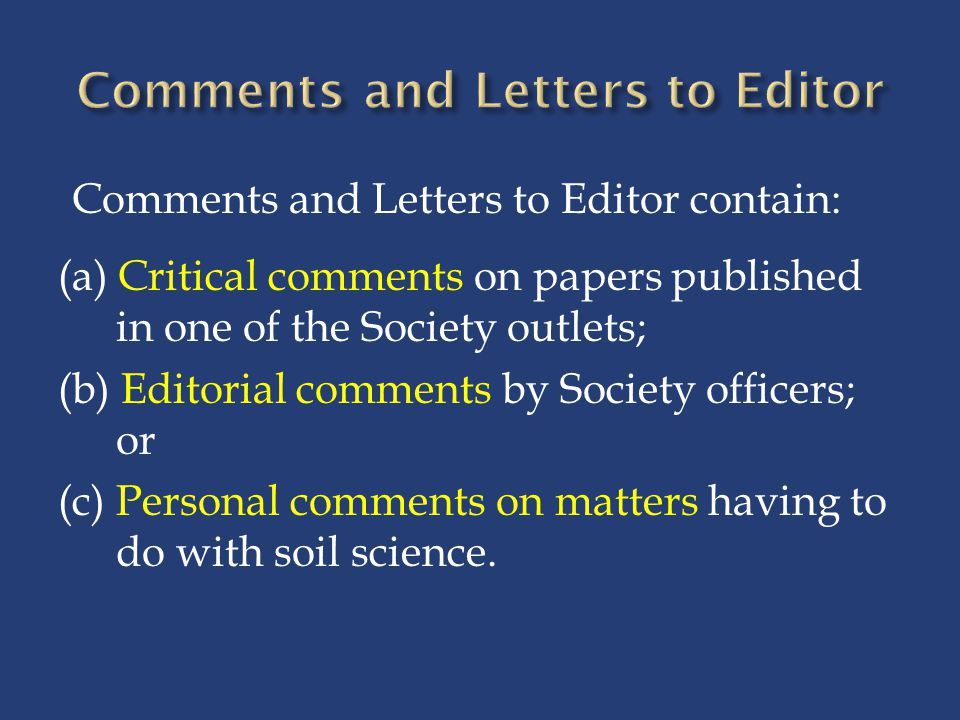 Comments and Letters to Editor
