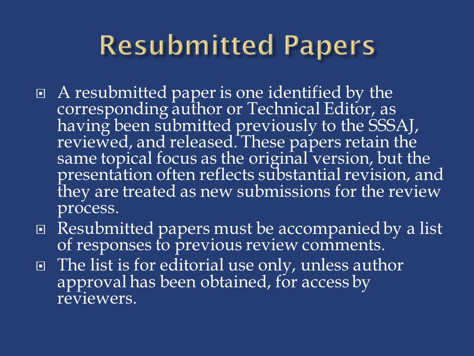 Resubmitted Papers