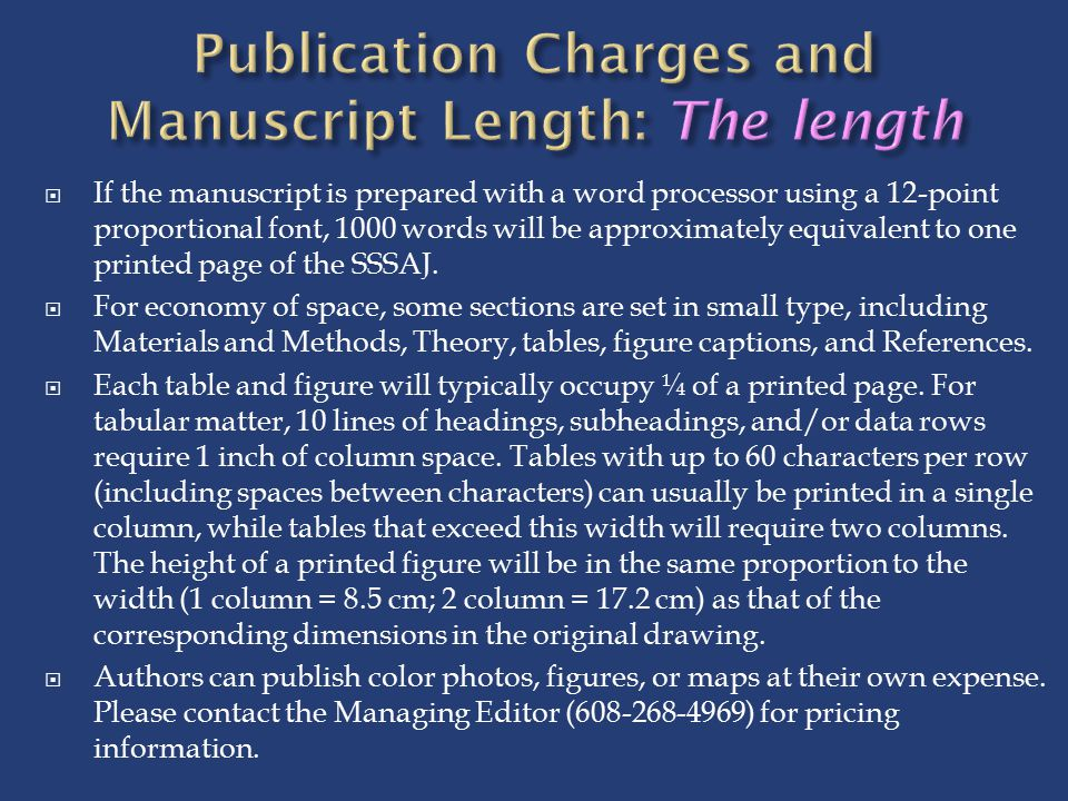 Publication Charges and Manuscript Length: The length