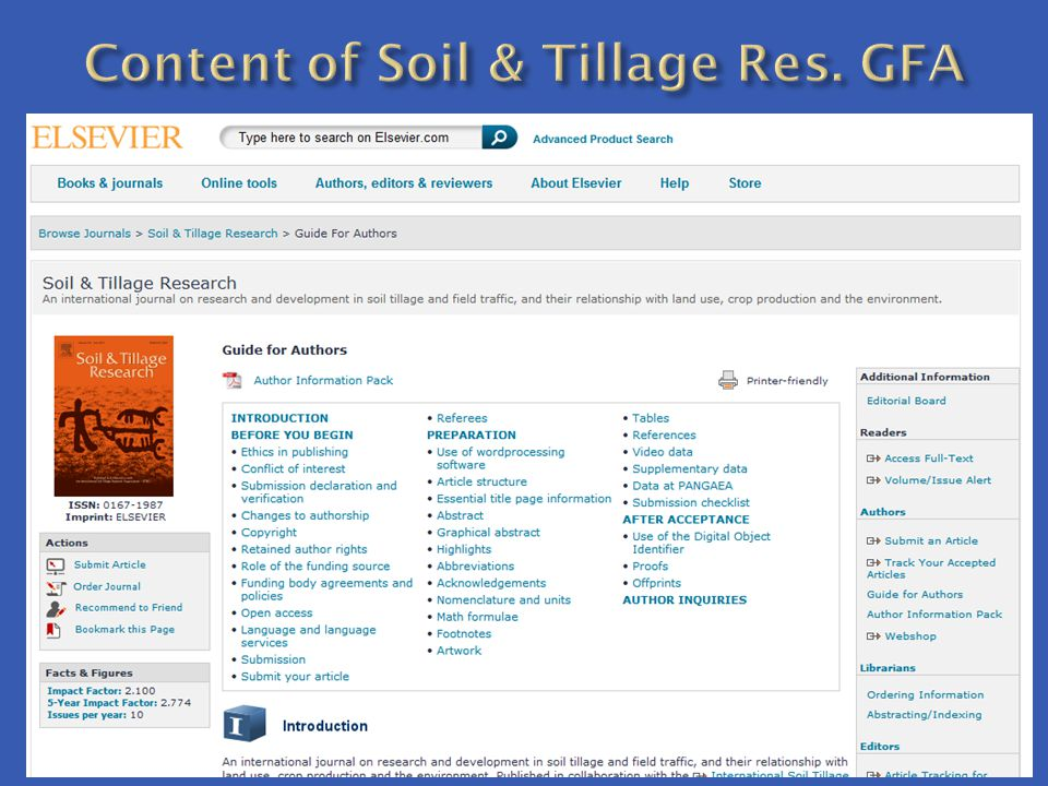 Content of Soil & Tillage Res. GFA