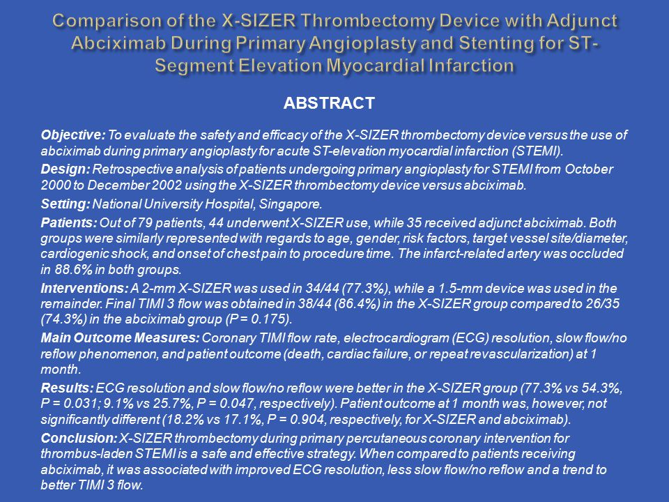 Comparison of the X-SIZER Thrombectomy Device with Adjunct Abciximab During Primary Angioplasty and Stenting for ST-Segment Elevation Myocardial Infarction