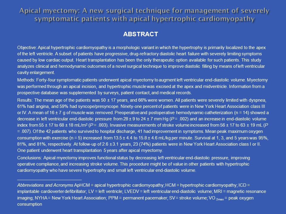 Apical myectomy: A new surgical technique for management of severely symptomatic patients with apical hypertrophic cardiomyopathy