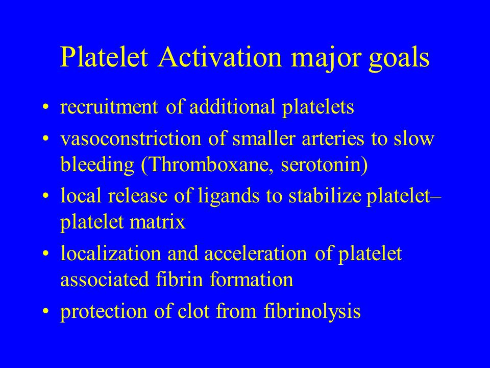 Platelet Activation major goals