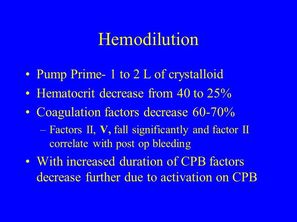 Hemodilution Pump Prime- 1 to 2 L of crystalloid