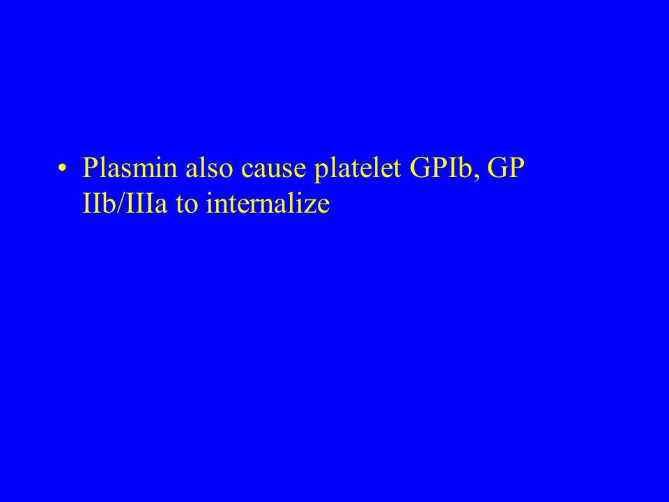 Plasmin also cause platelet GPIb, GP IIb/IIIa to internalize
