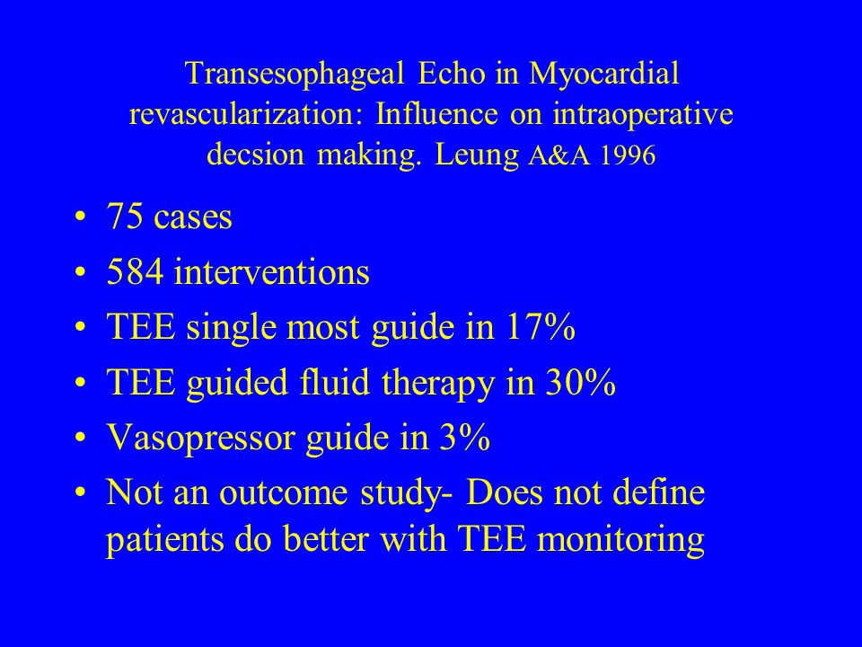 TEE single most guide in 17% TEE guided fluid therapy in 30%