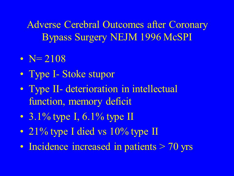 Adverse Cerebral Outcomes after Coronary Bypass Surgery NEJM 1996 McSPI
