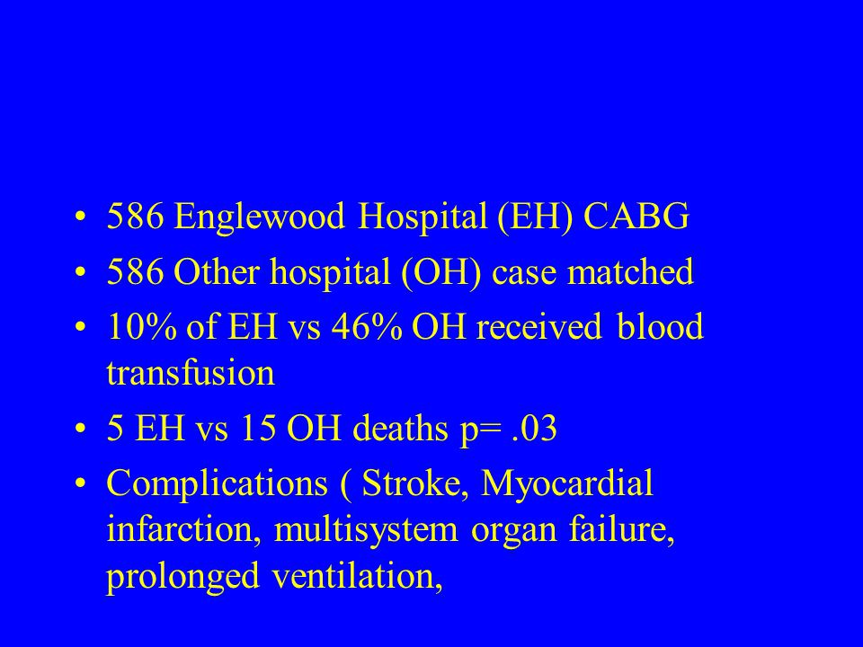 586 Englewood Hospital (EH) CABG