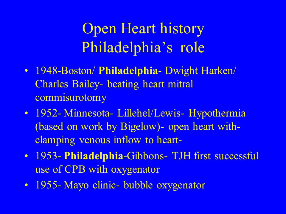 Open Heart history Philadelphia's role