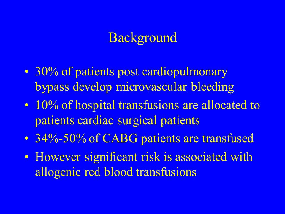Background 30% of patients post cardiopulmonary bypass develop microvascular bleeding.