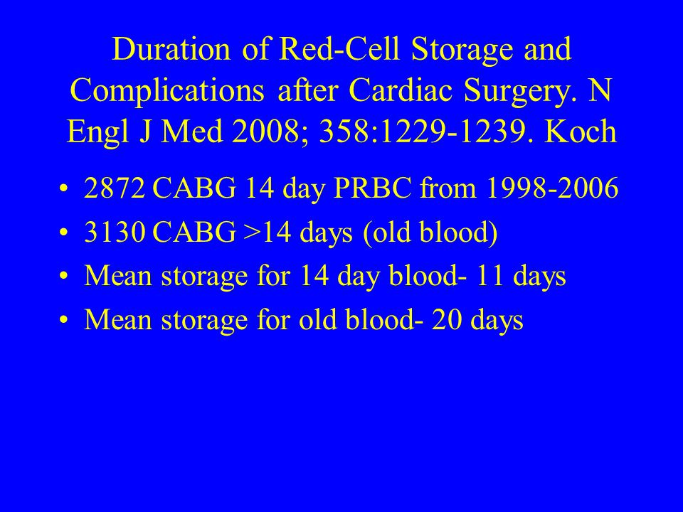 Duration of Red-Cell Storage and Complications after Cardiac Surgery