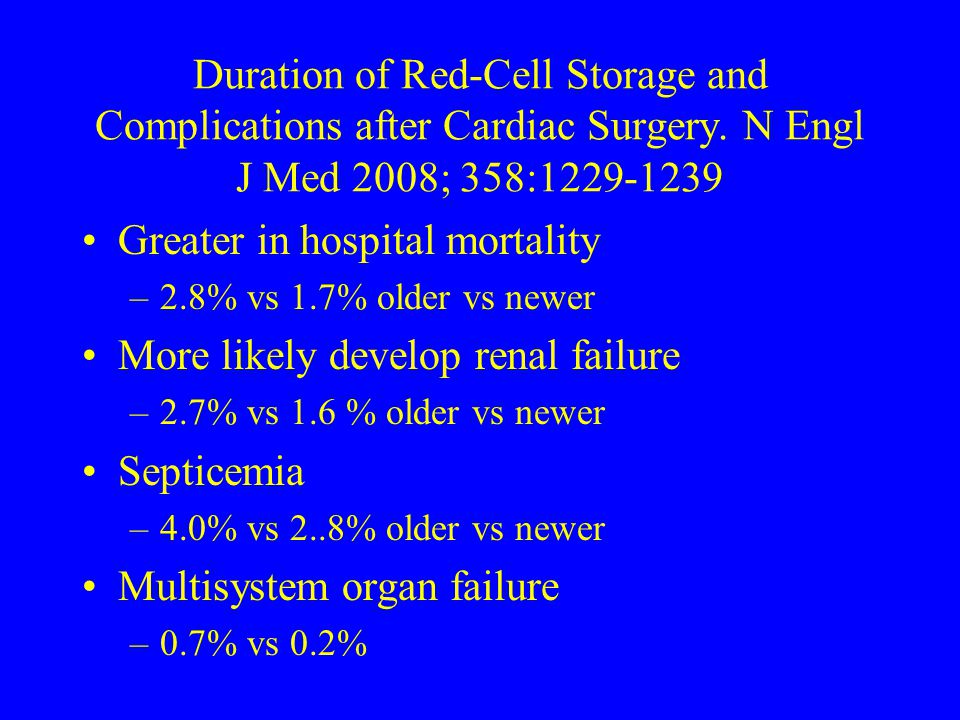 Greater in hospital mortality More likely develop renal failure