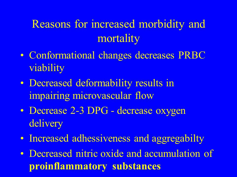 Reasons for increased morbidity and mortality