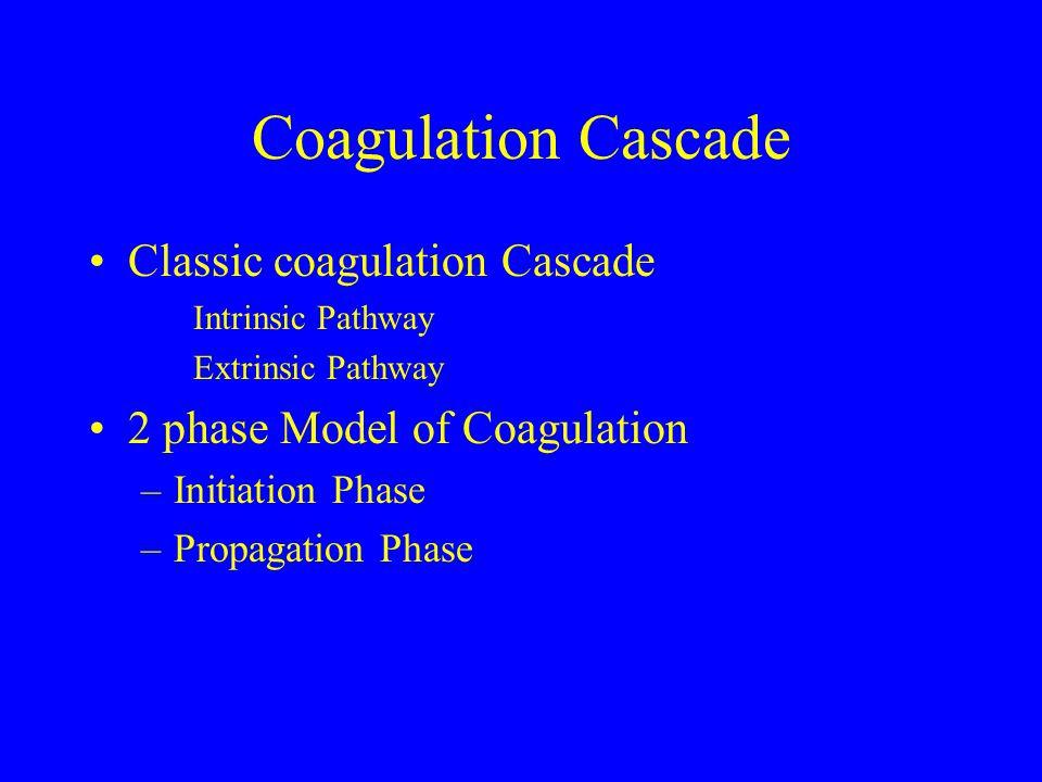 Coagulation Cascade Classic coagulation Cascade