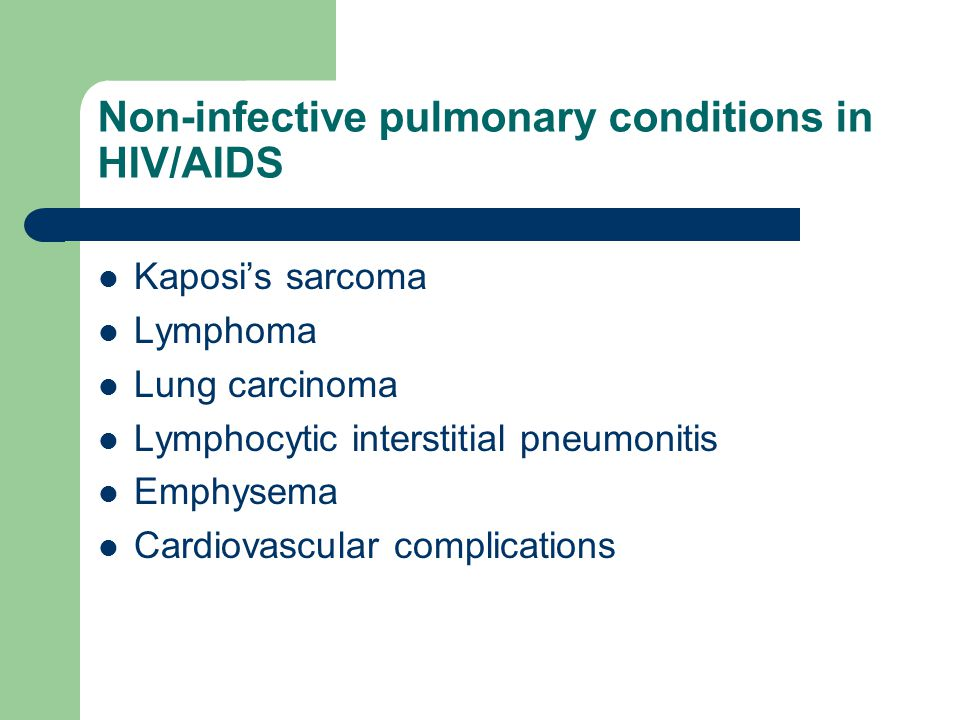 Non-infective pulmonary conditions in HIV/AIDS