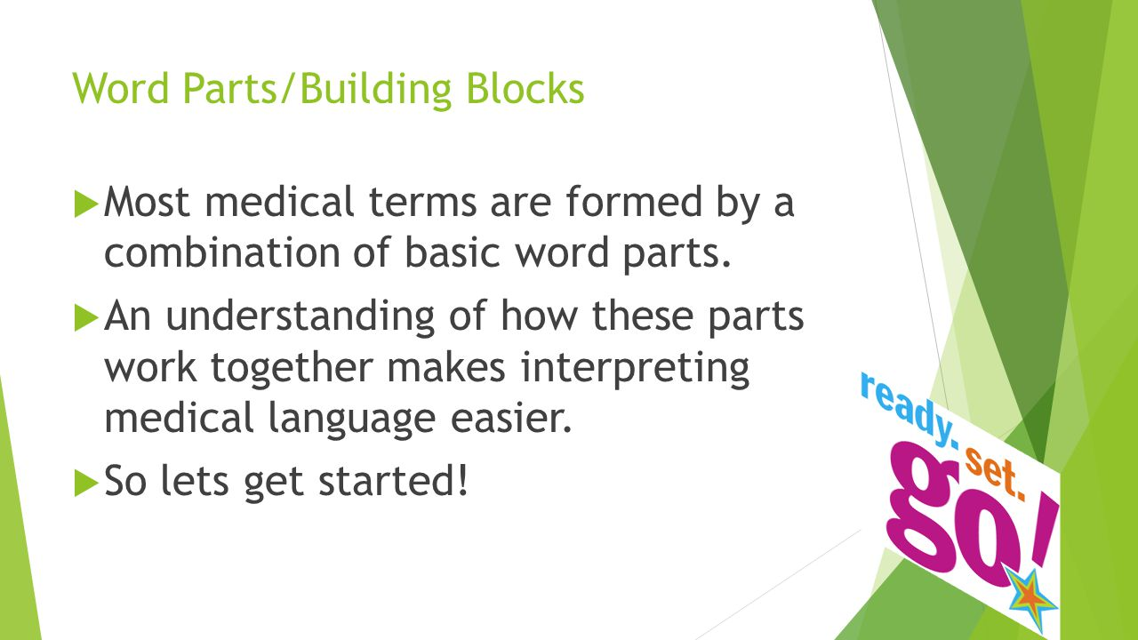 Word Parts/Building Blocks