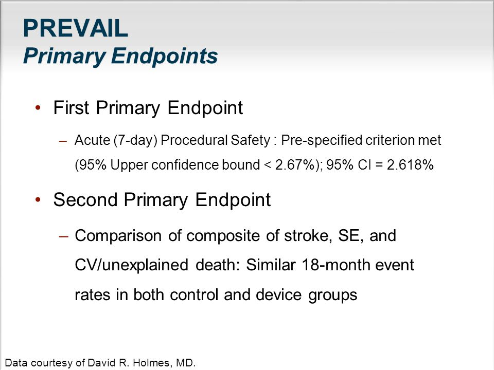 PREVAIL Primary Endpoints