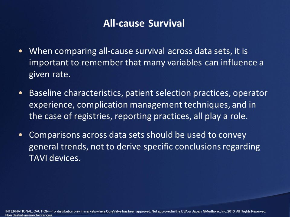 All-cause Survival When comparing all-cause survival across data sets, it is important to remember that many variables can influence a given rate.