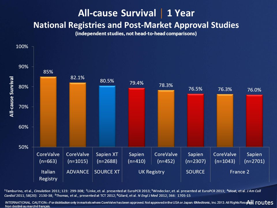 All-cause Survival │ 1 Year National Registries and Post-Market Approval Studies (independent studies, not head-to-head comparisons)