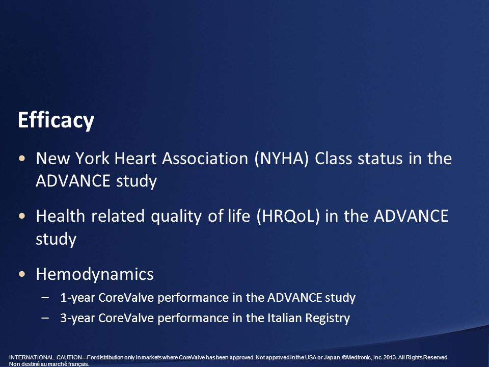 Efficacy New York Heart Association (NYHA) Class status in the ADVANCE study. Health related quality of life (HRQoL) in the ADVANCE study.