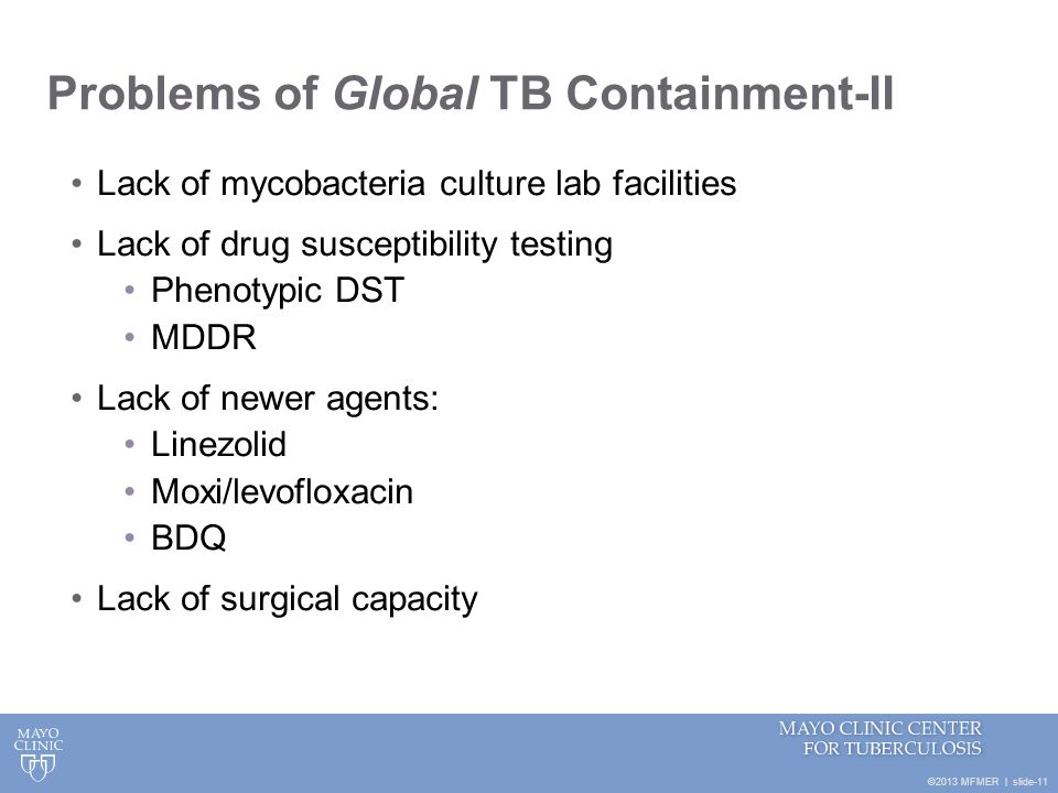 Problems of Global TB Containment-II