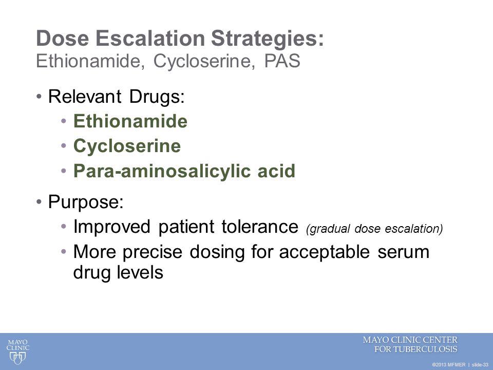 Dose Escalation Strategies: Ethionamide, Cycloserine, PAS
