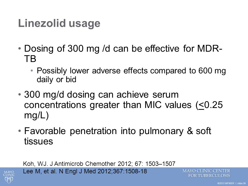 Linezolid usage Dosing of 300 mg /d can be effective for MDR- TB