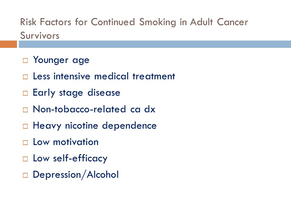 Risk Factors for Continued Smoking in Adult Cancer Survivors