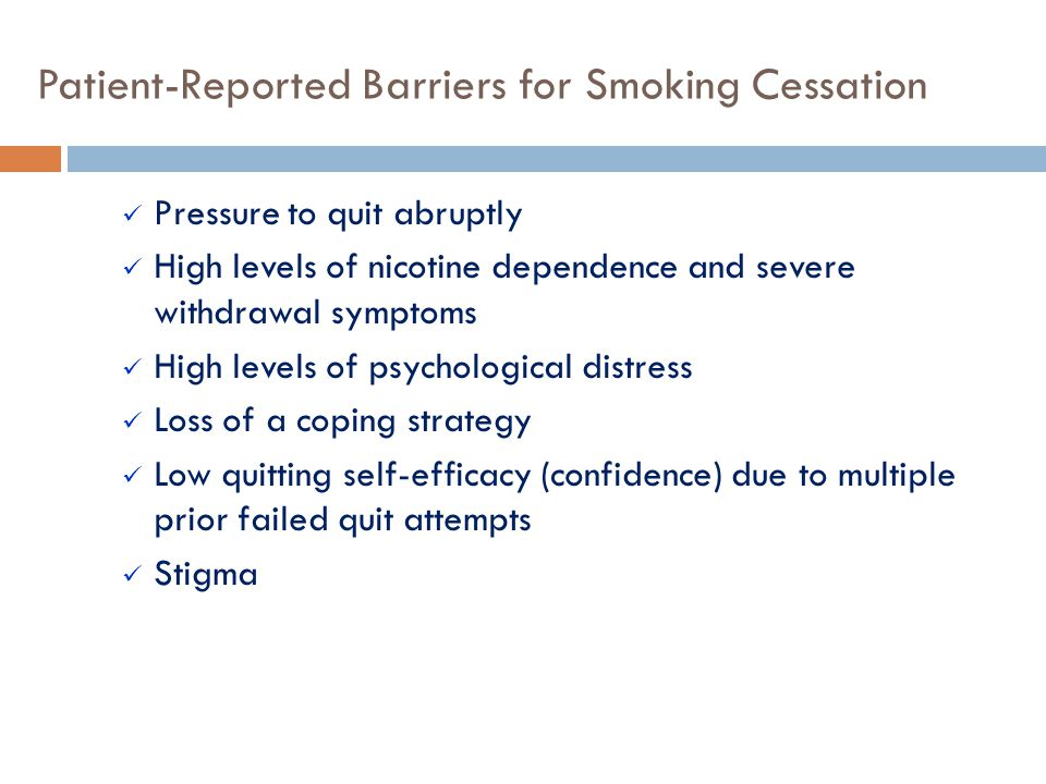 Patient-Reported Barriers for Smoking Cessation