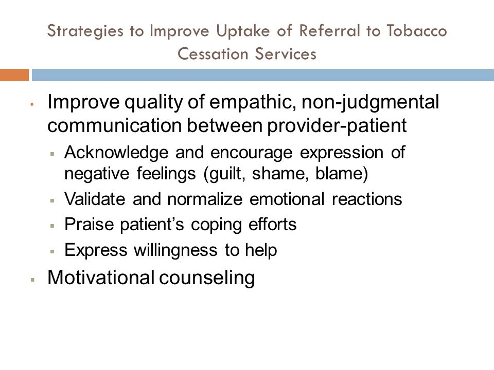 Strategies to Improve Uptake of Referral to Tobacco Cessation Services