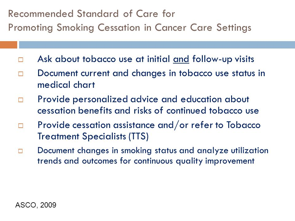 Recommended Standard of Care for Promoting Smoking Cessation in Cancer Care Settings