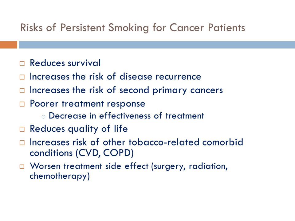 Risks of Persistent Smoking for Cancer Patients