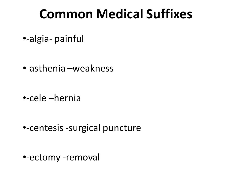 Common Medical Suffixes